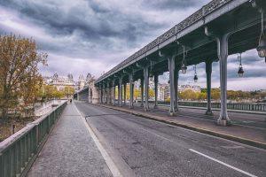 Walkway and bike lane underneath the Bir Hakeim Bridge in Paris, France